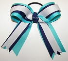 Turquoise Navy White Ponytail Bow