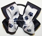 Paw Print Navy White Pigtail Cheer Hair Bow
