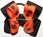 Paw Print Orange Black Pigtail Hair Bow