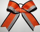 Orange Black Silver Ponytail Cheer Bow