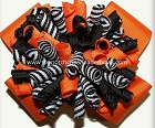Korkers Orange Black Stripes Cheer Bow