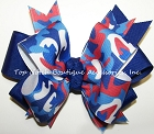 Patriotic Camouflage Ponytail Cheer Bow