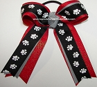 Paw Print Black Gray Red Glitter Ponytail Bow