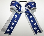 Paw Print Blue White Silver Ponytail Bow