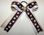 Paw Print Maroon Gold Ponytail Bow
