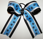 Paw Print Carolina Blue Black Cheer Bow