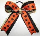 Paw Print Orange Black Gold Ponytail Bow