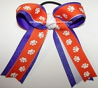 Paw Print Orange Purple Glitter Ponytail Bow