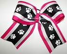 Paw Print Pink Black Big Cheer Bow