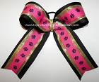 Paw Print Hot Pink Black Gold Cheer Bow