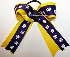 Paw Print Purple Yellow Glitter Ponytail Bow
