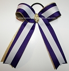 Purple Gold White Ponytail Holder Bow