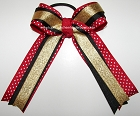 Red Black Old Gold Ponytail Holder Bow