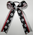 Soccer Black Red Silver Ponytail Holder Bow