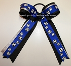 Soccer Ribbons Blue Silver Ponytail Holder Bow