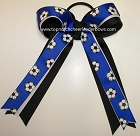 Soccer Ribbons Blue White Ponytail Holder Bow