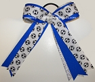 Soccer Ribbons Electric Blue Ponytail Holder Hair Bow