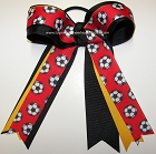 Soccer Red Black Yellow Gold Ponytail Bow