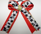 Soccer Gold Orange Glitter Ponytail Hair Bow