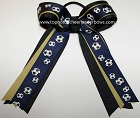 Soccer Navy Blue Gold Black Ponytail Bow