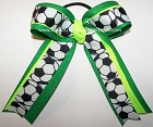 Soccer Neon Lime Green Glitter Ponytail Hair Bow