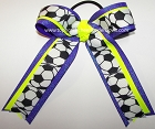 Soccer Neon Yellow Purple Glitter Ponytail Hair Bow