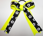 Soccer Black Neon Yellow White Ponytail Bow