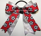 Soccer Red Silver Metallic Ponytail Bow