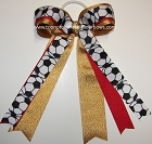 Soccer Ribbons Red Gold Ponytail Holder Bow