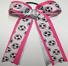 Soccer Hot Pink Silver Ponytail Bow