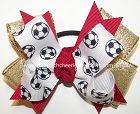 Soccer Ribbons Pigtail Hair Bow