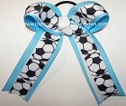 Soccer White Blue Glitter Ponytail Hair Bow