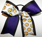 Softball Custom Rhinestones Ponytail Bow