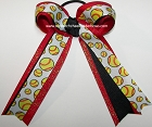Softball Black Red Glitter Hair Bow