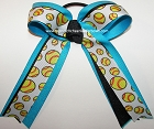Softball Black Turquoise Glitter Hair Bow