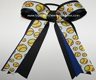 Softball Royal Blue Black Silver Ponytail Bow