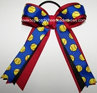 Softball Sparkly Blue Black Red Ponytail Bow