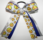 Softball Blue Silver Metallic Ponytail Bow