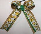 Softball Green Gold Glitter Hair Bow