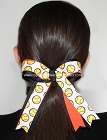 Softball Black Neon Orange Ponytail Bow