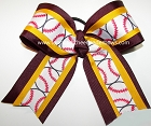 Softball Maroon Yellow Gold Ponytail Bow
