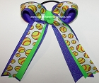 Softball Neon Green Purple Glitter Hair Bow