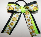 Softball Neon Lime Navy Glitter Hair Bow