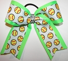 Softball Neon Green Rhinestones Ponytail Bow