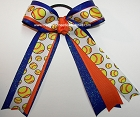 Softball Orange Royal Blue Glitter Ponytail Bow