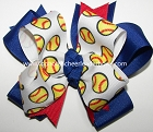 Softball Royal Blue Red Ponytail Hair Bow