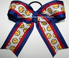 Softball Red Royal Blue Ponytail Holder Bow