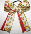 Softball Red Gold Metallic Ponytail Bow