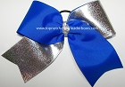 Tic Toc Blue Silver Holographic Foil Big Cheer Bow