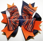 Tigers Orange Navy Ponytail Holder Bow